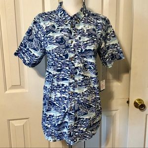 Vineyard Vines Shark Motif Button Down Shirt Sz 16